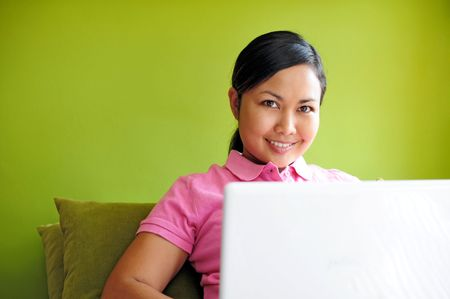 Close up of women with laptop