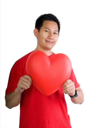 Man holding heart shape photo