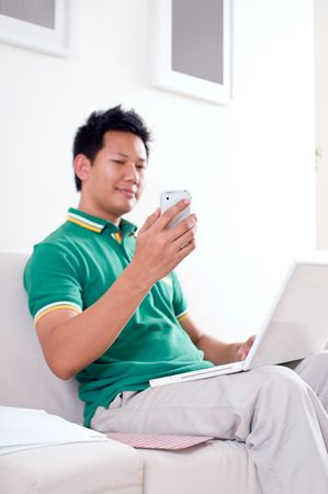Man reading text message photo
