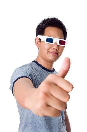 Thumb up for 3D movies photo