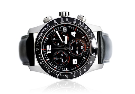 strap on: Picture of tachymeter on isolated white background Stock Photo