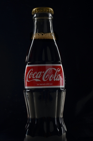 Kuala Lumpur, Malaysia - May, 21 2012: Coca Cola Coke bottle on low light background