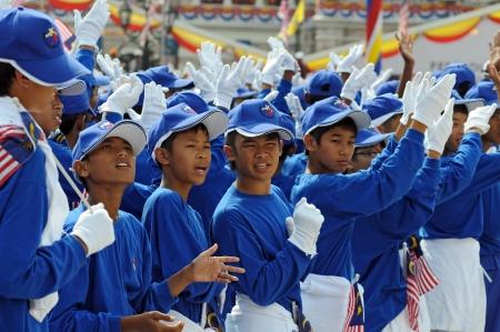 malaysia culture: Kuala Lumpur, Malaysia - August, 30 2008: Kids celebrating national