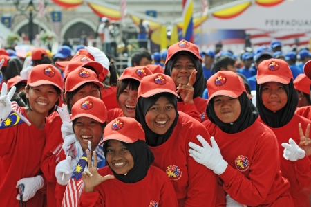 Kuala Lumpur, Malaysia - August, 30 2008: Kids celebrating Malaysia Editorial