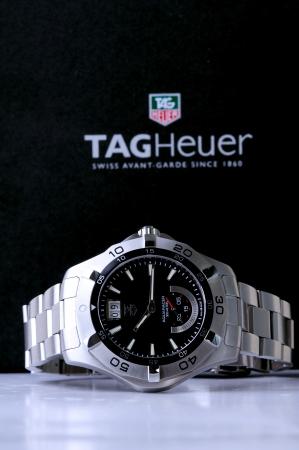 Kuala Lumpur, Malaysia - June, 2 2012: Aqua Racer TAG Heuer male Stainless steel watch Stock Photo - 13887493
