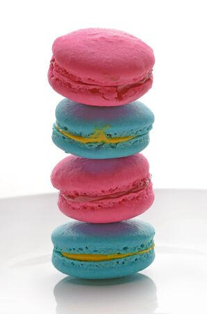 Stack of blue and pink macaroons photo