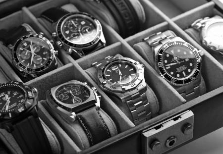 Kuala Lumpur, Malaysia - June, 8 2012: Wristwatches inside the watch case