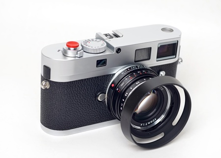 Black and silver rangefinder camera on white background Stock Photo - 19223493