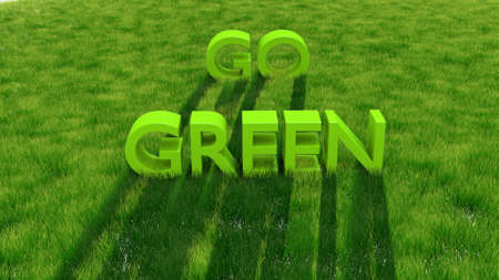 Go Green words on green grass photo