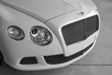 owned: Subang Jaya, Malaysia - July 11 2014  Close up picture of Bentley car  Bentley is a British luxury automaker owned subsidiary of the German Volkswagen AG