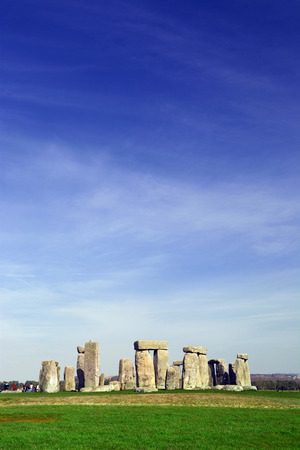 archaeologists: Stonehenge over the blue sky taken in Wiltshire, England Stock Photo