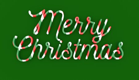 masthead: Merry Christmas wording on green background Stock Photo