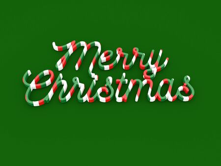Merry Christmas wording on green background Stock Photo