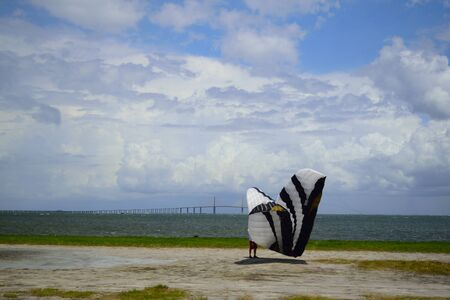 kite surfing: Kite surfer folding up his kite by Sunshine Sky way Bridge. Stock Photo
