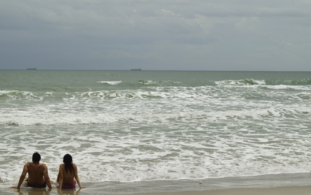 cocoa beach: Watching the waves roll into Cocoa Beach, Florida. Stock Photo
