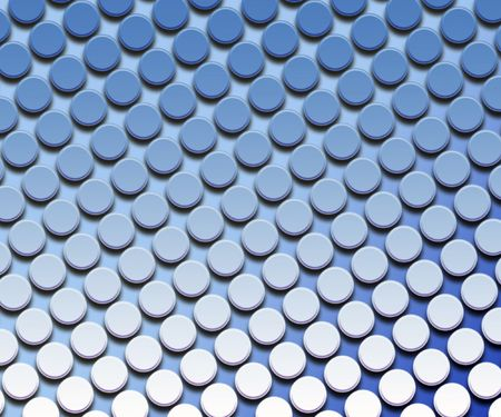 Rows of buttons on pale blue background