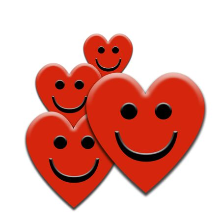 Group of smiling heart shapes Stock Photo
