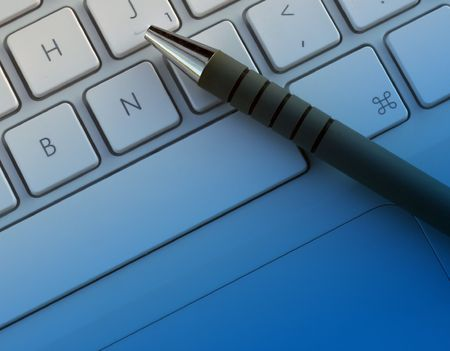 Pen resting on laptop keyboard with blue overlay. Stock Photo - 635898