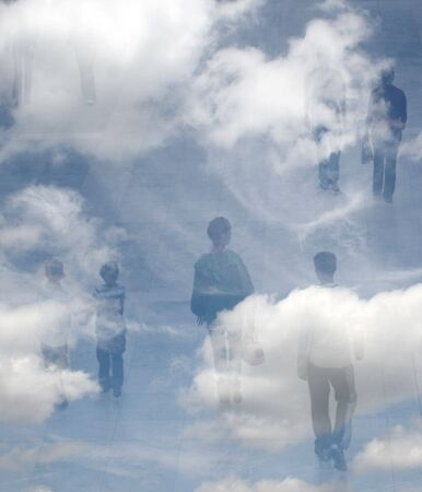 merged: Composite abstract of shoppers merged with clouds