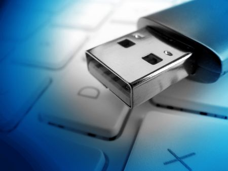 Closeup of usb memory stick focused of usb connector