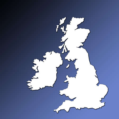 UK and Ireland map outline in white on graduated blue background Stock Photo - 760450