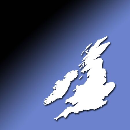 Distorted view of UK and Ireland outline map on graduated blue background Stock Photo - 760448