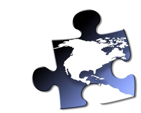 Jigsaw piece of USA and Canada on white background, with drop shadow. Stock Photo