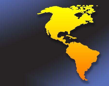 continente americano: Amarillo mapa del Continente Americano sobre fondo azul con educaci�n