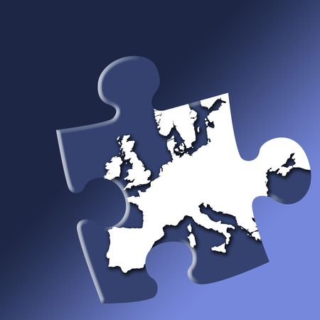 Jigsaw piece of European map outline on graduated blue background. Stock Photo - 854819