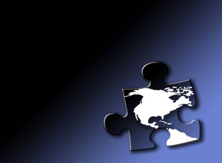 Jigsaw piece with white outline of USA and Canada on graduated blue background. Drop shadow effect applied. photo