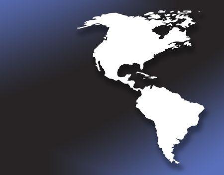 continente americano: Blanco esbozo de la forma en el continente americano se gradu� de fondo azul