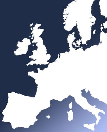 White outline map of Europe on blue graduated background. Stock Photo - 858613