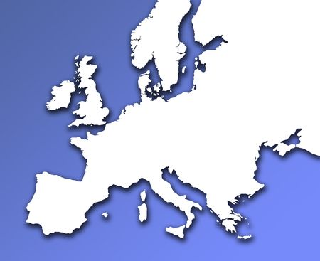 European outline map on blue background. Drop shadow applied. Stock Photo - 858614