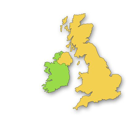 Outline map of the United Kingdom and Eire. Drop shadow on white background. photo