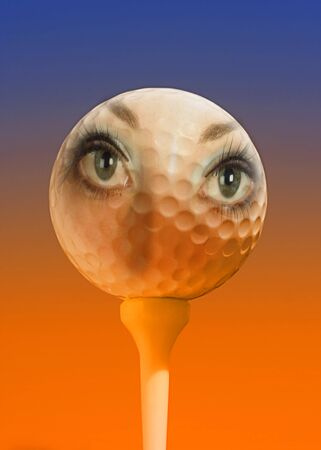 Womans face overlaid on golfball with orange and blue lighting effect Stock Photo - 863738