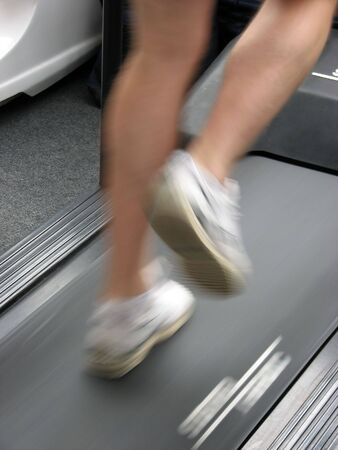 Male running on gymnasium treadmill. Stock Photo - 868483