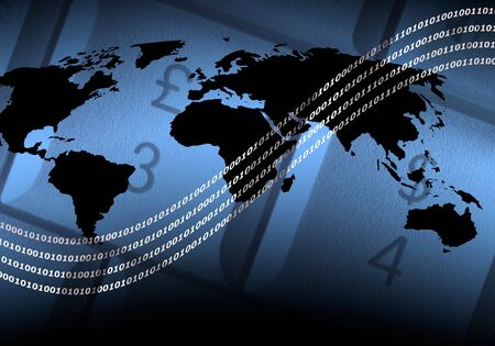 Illustration comprising of world map outline on computer keys. Lines of white digital numbers overlaid over image. Stock Illustration - 875821