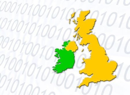 eire: Outline map of UK and Eire overlaid onto number pattern. Stock Photo