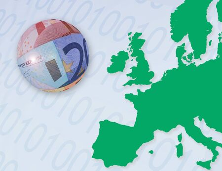 europian: Illustration representing Europian on-line banking. Euro bank notes shaped as ball overlaid onto outline map of europe. Numbers overlaid onto sea areas.