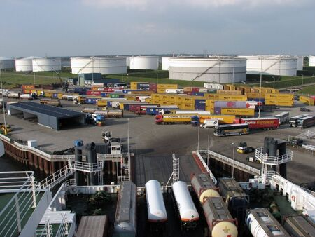 Busy loading area at dockside. View from ferry docked at Europoort, Netherlands.