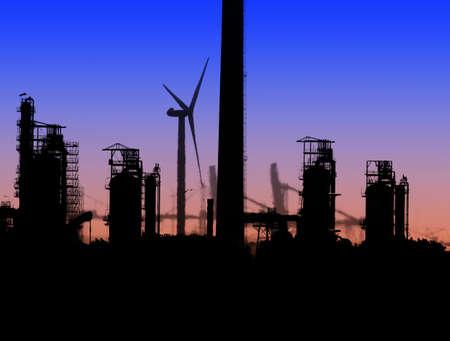 Silhouette showing wind turbine in an industrial scene Stock Photo - 1367086