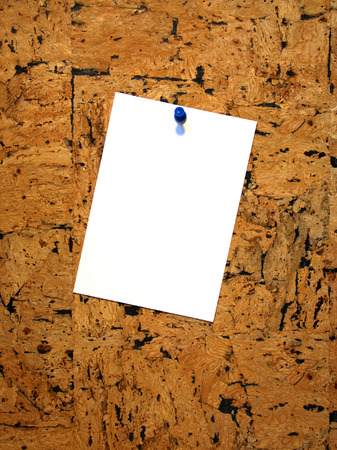 Blank sheet of paper on pin board Stock Photo - 1367092