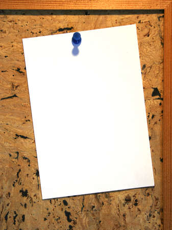 Blank sheet of paper on pin board Stock Photo - 1367091