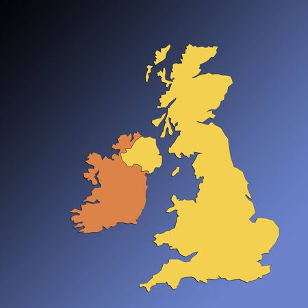 Outline map of British Isles and Eire on blue backgroud photo