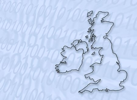 british isles: Abstract of digital numbers overlaid with outline map of UK