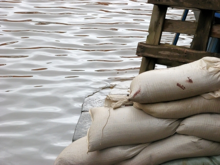 Sandbags acting as flood defence in York, North Yorkshire.