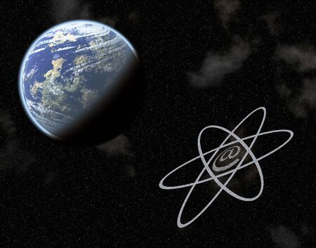 earthlike: Conceptual image showing earth-like planet with email symbol.