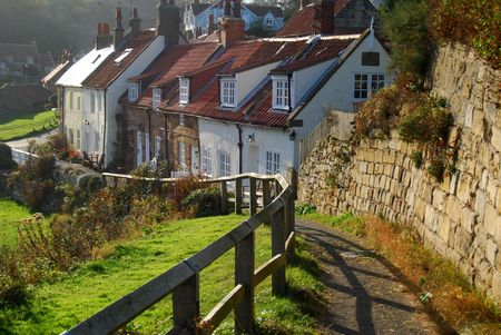 Picturesque cottages in Sandsend near Whitby, North Yorkshire, UK.