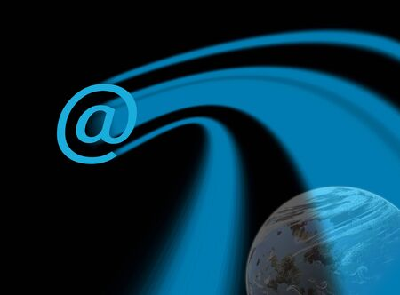 trailing: E-mail symbol with trailing blue pattern over simulated planet in background Stock Photo