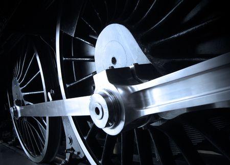 Close up of steam railway engine wheels